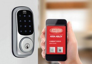 This lock mates up to the Yale wireless alarm system